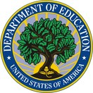 Logo for Department of Education-a leafy oak tree surrounded by a blue ring